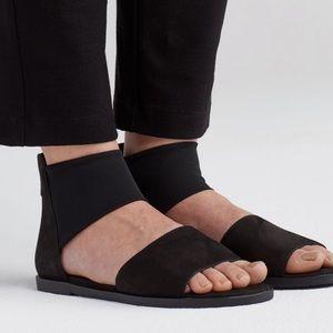 Eileen Fisher Black Tumbled Nubuck Leather Sandals